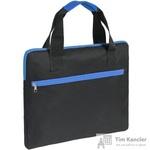 Конференц-сумка полиэстер черная/синяя (38x30x2 см)
