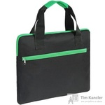 Конференц-сумка полиэстер черная/зеленая (38x30x2 см)