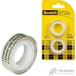Клейкая лента канцелярская Scotch двухсторонняя прозрачная 12 мм x 6.3 м (2 штуки в упаковке)