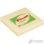Стикеры Z-сложения КОМУС 76х76 мм пастельные желтые для диспенсера (1 блок, 100 листов)
