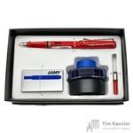 Набор письменных принадлежностей Lamy Safari (перьевая ручка красного цвета, картриджи, конвертер, чернила 50 мл)