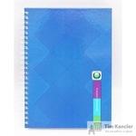 Бизнес-тетрадь Проф-пресс Синие узоры A5 120 листов цветная в клетку на гребне (150x105x9)