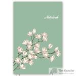 Блокнот Escalada Цветы на бирюзе A5+ 144 листа голубой/белый в линейку на сшивке (165x245 мм)