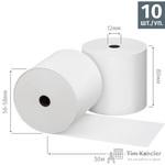 Чековая лента из термобумаги 80 мм (диаметр 56-58 мм, намотка 50 м, втулка 12 мм, 10 штук в упаковке)