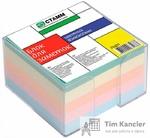 Блок для записей СТАММ PVC, в пластиковом боксе, цветной, 8x8x5 см