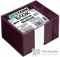 Блок для записей СТАММ PVC, белый, в подставке с отделением для ручек, 9x9x6 см